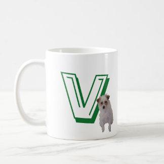 Tasse - Buchstabe V mit Hund und Namen