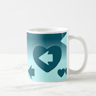 Tasse, der den Pfeil deines blauen Herzens folgt Kaffeetasse