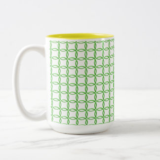 Tasse - grüne ineinander greifenringe
