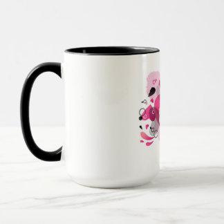 Tasse mit Herzschwarz- und -ROSAentwurf