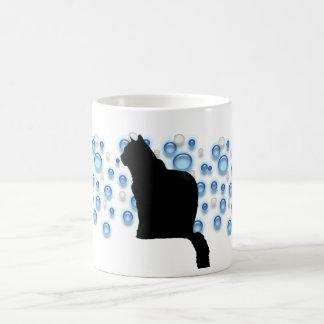Tasse - schwarze Katze und blaue Blasen