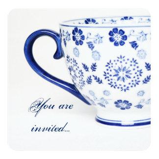 Tasse Tee viktorianisches Blau - Tee-Party laden Quadratische 13,3 Cm Einladungskarte