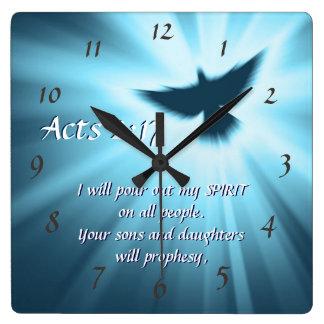 Taten-2:17 gieße ich heraus meinen Geist, Quadratische Wanduhr