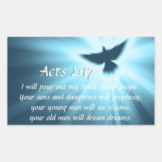 Taten-2:17 gieße ich heraus meinen Geist, Rechteckiger Aufkleber