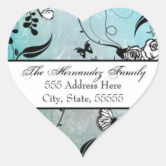 Tätowieren Sie Rose und Fluers Adressen-Etikett Herz Sticker