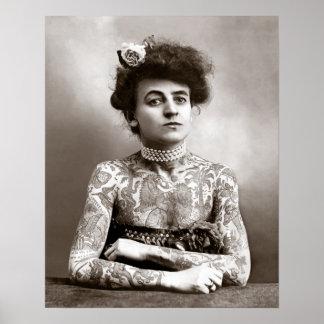 Tätowierte Dame, 1907. Vintages Foto Poster