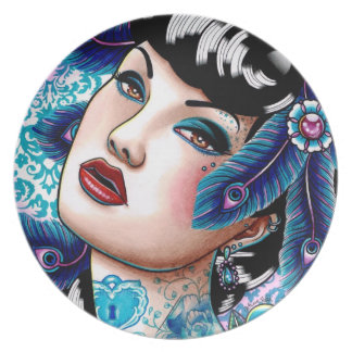 Tätowiertes Button herauf Mädchen: Saphir-Nacht Flacher Teller