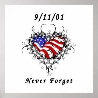 Tätowierung 911 vergessen nie poster
