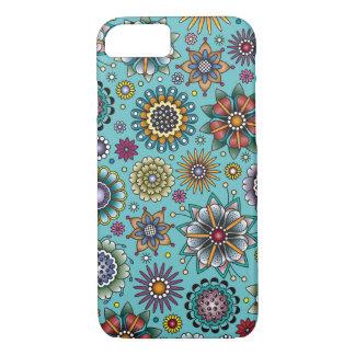 Tätowierungs-Art-Blumen-Gekritzel-Muster-Blau iPhone 8/7 Hülle