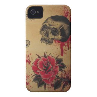 Tätowierungs-Blume und -schädel IPOD-Kasten iPhone 4 Hülle