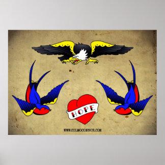 Tätowierungs-grelles Blatt 01 Poster