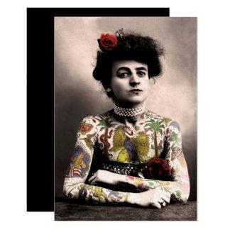 Tätowierungs-Künstler-Frauen-Vintage Karte