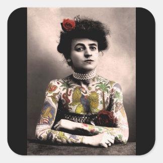 Tätowierungs-Künstler-Frauen-Vintage Quadratischer Aufkleber