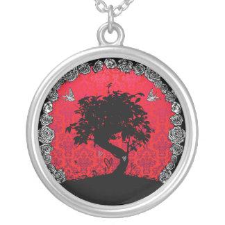 Tätowierungs-Rosen-Bonsais-Baum der Liebe Versilberte Kette