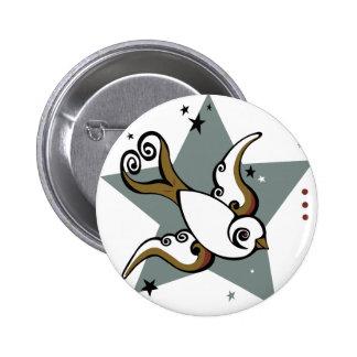 Tätowierungs-städtischer Schwalben-Vogel-Entwurf Runder Button 5,1 Cm