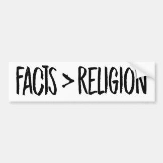 Tatsachen sind größer als Religion -- Autoaufkleber