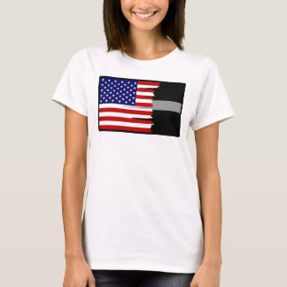 Tattered amerikanische Flagge versilbern dünn T-Shirt