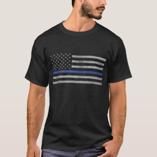 Tattered beunruhigte dünne Blue Line-Flagge T-Shirt