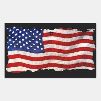 Tattered Schmutz patriotische USA-Flagge, Rechteckiger Aufkleber