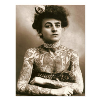 Tattoed mit Perlen, viktorianisches Zirkus-Foto Postkarte