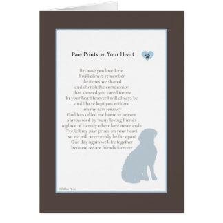 Tatze druckt auf Ihrem Herz-Beileids-HundeBeileid Karte