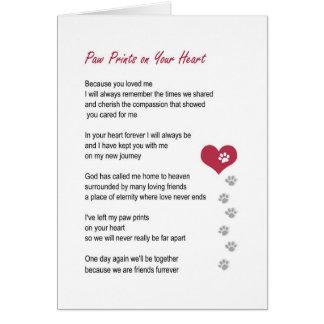 Tatze druckt auf Ihrer Herzhaustier-Beileidskarte Karte