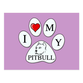 TATZE - i-Herz meine Grube Stier - Liebe-Hunde Postkarte