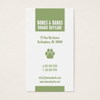 Tatzen-Druck-Hundesorgfalt-Olive Visitenkarten