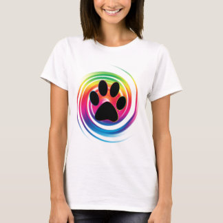 Tatzen-Druck im Regenbogen-Strudel T-Shirt