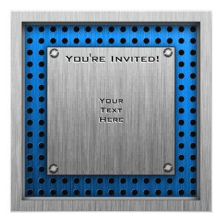 Tatzen-Druck; Metall-Blick Quadratische 13,3 Cm Einladungskarte