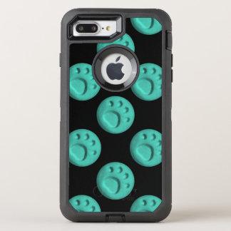 Tatzen-Druck-Punkt - aquamarin OtterBox Defender iPhone 8 Plus/7 Plus Hülle