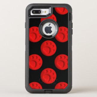 Tatzen-Druck-Punkt - Rot OtterBox Defender iPhone 8 Plus/7 Plus Hülle