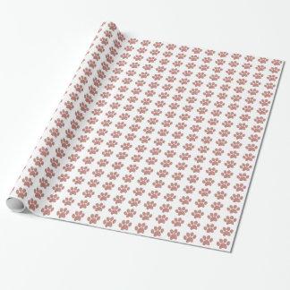 Tatzen-Druck-Thema-Rosen-Goldrosa Geschenkpapier