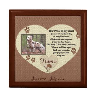 Tatzen-Drucke auf meinem Herzen - Hundedenkmal Erinnerungskiste