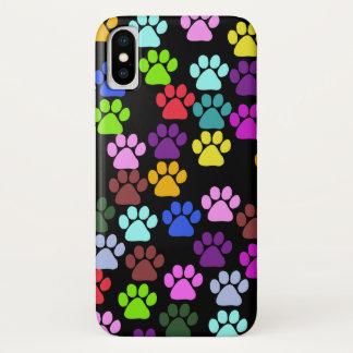 Tatzen-Muster, Hundetatzen, Welpen-Tatzen - rotes iPhone X Hülle