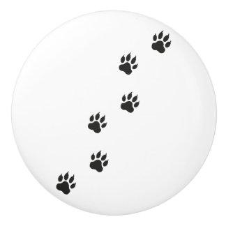 Tatzendrucke einer Katze Keramikknauf