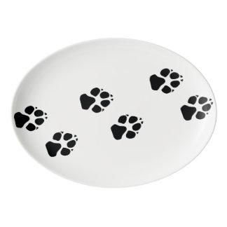 Tatzendrucke eines Hundes Porzellan Servierplatte