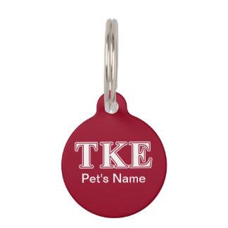 Tau-Kappa-weiße und rote Epsilonbuchstaben Tiermarke