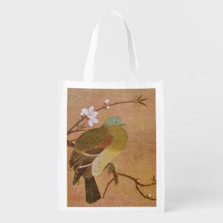 Taube auf einer Pfirsich-Niederlassung Einkaufsbeutel