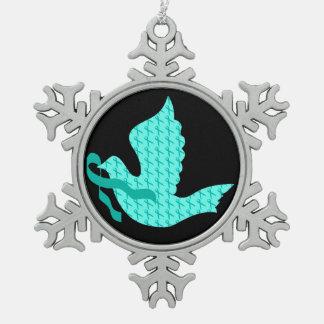 Taube des Hoffnungs-aquamarinen Bandes - Schneeflocken Zinn-Ornament