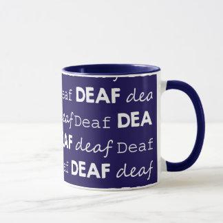 TAUBE Kultur-einzigartige Typografie-weißes Blau Tasse