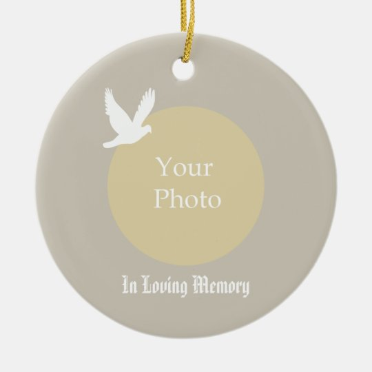 Taube mit Foto-Erinnerungsweihnachtsverzierung Rundes Keramik Ornament
