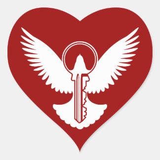 Taube mit Schlüssel Herz-Aufkleber