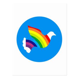 Taube Regenbogen dove rainbow Postkarte