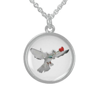 Taube und die Rose Sterling Silberkette