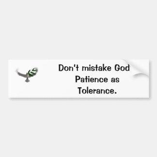 Taube, verwechseln die Geduld des Gottes nicht als Autoaufkleber