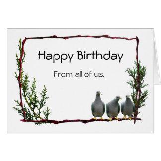Tauben auf Zweig-Geburtstags-Karte Karte