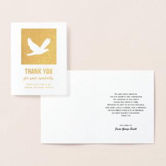 Tauben-Beileid danken Ihnen, auf Goldfolie zu Folienkarte