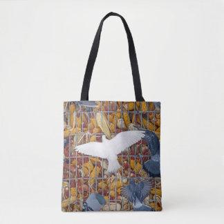 Tauben erhalten den Mais Tasche
