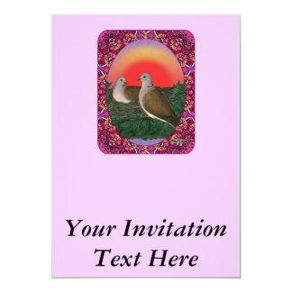 Tauben gerahmt 12,7 x 17,8 cm einladungskarte